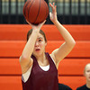Beverly: Beverly junior forward Ashley Augulewicz takes a jump shot at practice on Thursday evening. DAVID LE/Staff Photo