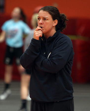 Beverly: New Beverly girls basketball Head Coach Allison Flynn closely watches her team at practice on Thursday evening as they prepared to take on NEC rival Salem. DAVID LE/Staff Photo