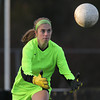Beverly: Peabody senior captain and goalie Caitlin Lodi concentrates while making a save against Beverly on Friday afternoon. David Le/Salem News