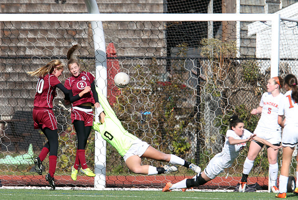 Lynn: A header off a corner kick by Concord-Carlisle sophomore Madeline Leahy (10) beats diving Beverly goalie Kyra Wolonsavich (0) for the game-winning-goal in double overtime on Saturday morning in the D2 North Semifinal. David Le/Salem News