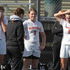 Lynn: Beverly senior captains Caitlin Harty (6) Casey Cook (3) and Diandra Crowley (9) stand in stunned silence after the Panthers fell to Concord-Carlisle 2-1 in double overtime in the D2 North Semifinal on Saturday morning. David Le/Salem News