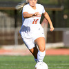 Beverly: Beverly junior forward Eva Gourdeau carries the ball upfield against Danvers on Tuesday afternoon. Gourdeau and the Panthers took home a 3-1 victory over the Falcons in NEC girls soccer action. David Le/Salem News