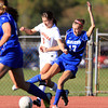 Beverly: Beverly senior captain Caitlin Harty (6) and Danvers junior Emily Murphy (17) battle for possession of the ball on Tuesday afternoon. David Le/Salem News
