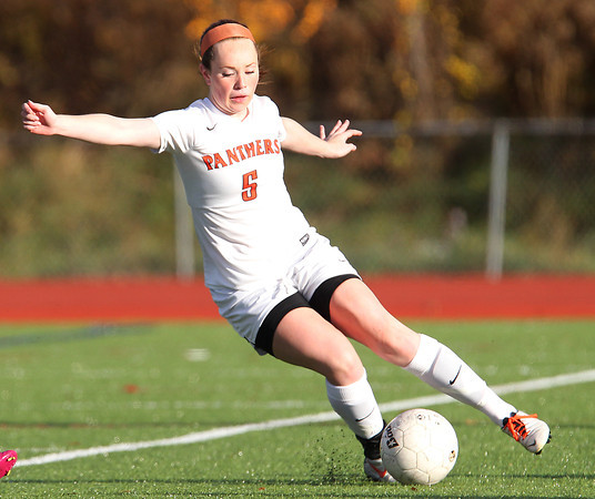 Beverly: Beverly sophomore defense Sarah Visnick (5) makes a cut back move with the ball against North Andover in the first round of play in the D2 North Tournament. David Le/Salem News