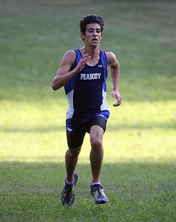 Beverly: Peabody senior Cody Piccardi sprints to the finish line to take 6th place overall against Beverly on Wednesday afternoon. David Le/Salem News