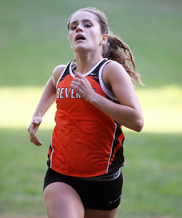 Beverly: Beverly senior captain Nicole Demars sprints to the finish line to take second place overall against Peabody on Wednesday afternoon. The Panthers took three out of the top four spots as Demars (19:01) and freshman teammate Abby Walsh (18:50) took the top two spots, with junior Julianna Wesley (19:20) coming in fourth to lead the Panthers to a 22-37 win over the Tanners.  David Le/Salem News