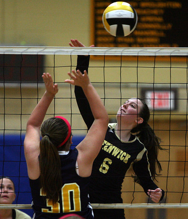 Peabody: Bishop Fenwick senior Siobhan McConnell (6) spikes the ball over the net against St. Mary's on Tuesday afternoon. David Le/Salem News