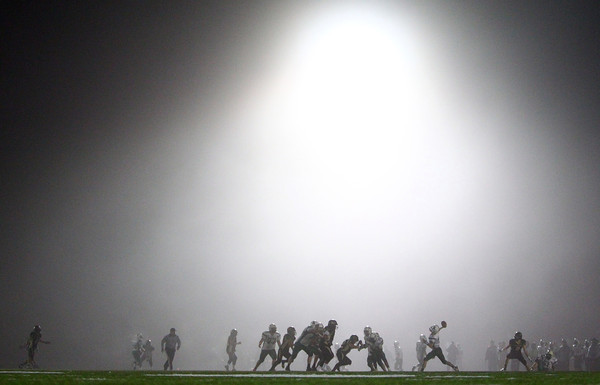 Woburn: Bishop Fenwick and Abington played through the fog in the D5 State Semifinal at Connolly Stadium in Woburn on Friday evening. The Crusaders defeated the Green Wave 35-8 to advance to the D5 Super Bowl at Gillette Stadium. David Le/Salem News