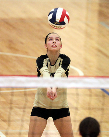 Tewksbury: Bishop Fenwick senior libero Olivia Morsey concentrates while making a bump pass to a teammate against Notre Dame Academy on Wednesday evening. David Le/Salem News