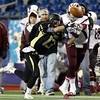 Foxborough: Bishop Fenwick senior captain Eric Razney steps in front of a pass in front of Northbridge senior Robie Sabourin (8) and bats the pass down during the D5 State Championship on Saturday evening at Gillette Stadium. DAVID LE/Staff Photo 12/7/13
