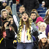 Foxborough: A Bishop Fenwick fan stands and cheers on the Crusaders during the D5 State Championship on Saturday evening at Gillette Stadium. DAVID LE/Staff Photo 12/7/13