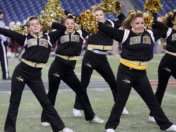 Foxborough: The Bishop Fenwick cheerleaders perform on the field during the D5 State Championship on Saturday evening at Gillette Stadium. DAVID LE/Staff Photo 12/7/13