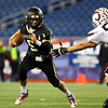 Foxborough: Bishop Fenwick senior captain Nick Bona (5) finds a gaping hole in the Northbridge defense during the D5 State Championship on Saturday evening at Gillette Stadium. DAVID LE/Staff Photo 12/7/13