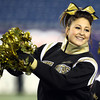 Foxborough: Bishop Fenwick senior cheerleading captain Erin Andy performs during the D5 State Championship on Saturday evening at Gillette Stadium. DAVID LE/Staff Photo 12/7/13