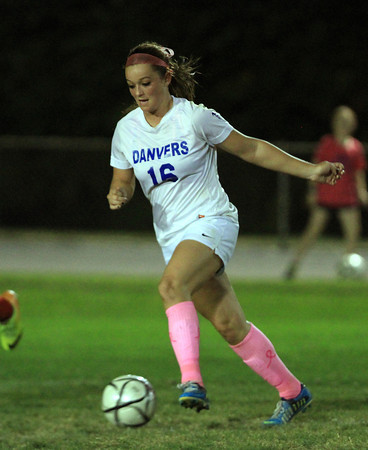 Danvers: Danvers junior striker Shannon Pohle controls the ball against Salem on Wednesday evening. Pohle scored 3 times to help lead the Falcons to a 4-0 win over the Witches. David Le/Salem News