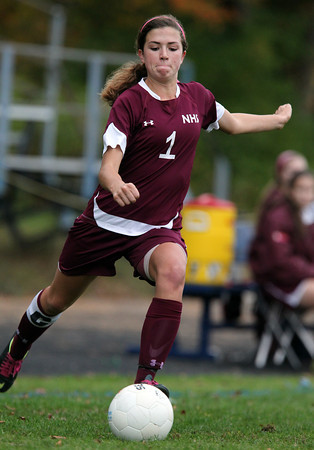 Hamilton: Newburyport senior captain Alyssa Leahy (1) rips a shot on net on a free kick against Hamilton-Wenham on Wednesday afternoon. David Le/Newburyport Daily News