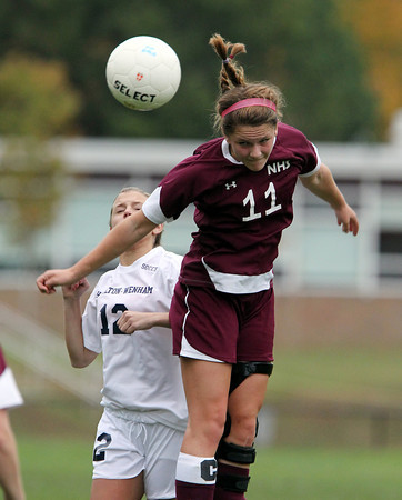 Hamilton: Newburyport senior captain Carly Brand (11) wins a header against Hamilton-Wenham on Wednesday afternoon. Brand scored the game's lone goal, giving the Clippers a 1-0 win over their CAL rival Generals. David Le/Newburyport Daily News