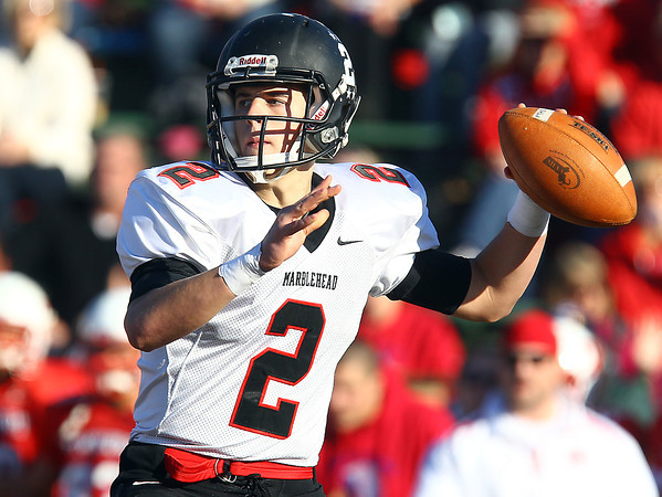 Tewksbury: Marblehead senior quarterback Matt Millett (2) drops back to pass against Tewksbury in the D2 Northeast Championship game at Doucette Field in Tewksbury on Saturday afternoon. The Magicians fell to the Redmen 34-21. David Le/Salem News