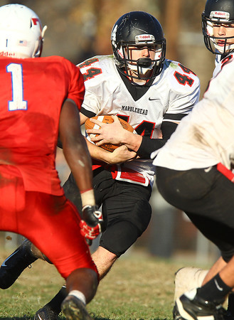 Tewksbury: Marblehead junior Brooks Tyrrell (44) cuts back against Tewksbury in the D2 Northeast Championship game at Doucette Field in Tewksbury on Saturday afternoon. The Magicians fell to the Redmen 34-21. David Le/Salem News