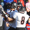 Tewksbury: Marblehead senior cornerback Dylan Cressy (5) gets congratulated by teammate Dean Fader (8) after Cressy picked off a Tewksbury pass during the first half of the D2 Northeast Championship game at Doucette Field in Tewksbury on Saturday afternoon. The Magicians fell to the Redmen 34-21. David Le/Salem News