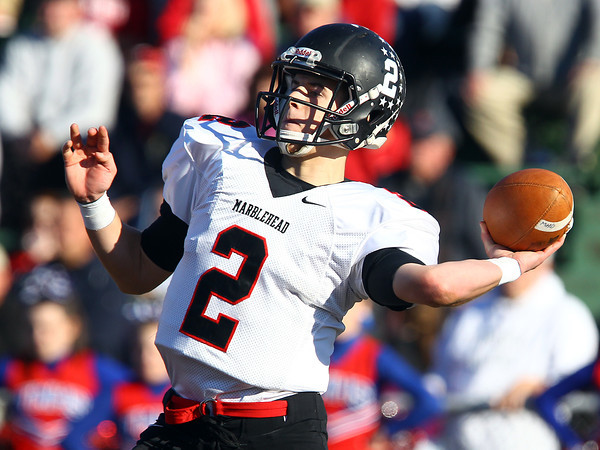 Tewksbury: Marblehead senior quarterback Matt Millett (2) heaves a pass deep downfield against Tewksbury in the D2 Northeast Championship game at Doucette Field in Tewksbury on Saturday afternoon. The Magicians fell to the Redmen 34-21. David Le/Salem News
