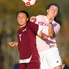 Boxford: Masco senior captain Julia O'Reilly, right, battle for a header with Newburyport sophomore Erin Filetti, on Monday afternoon. The Clippers and Chieftans battled to a 0-0 draw in CAL action. David Le/Salem News