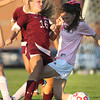 Boxford: Newburyport sophomore Isabella Palma (16) collides with Masco senior Taylor Teed, right, as they battle for possession of the ball on Monday afternoon. David Le/Newburyport Daily News