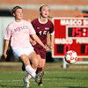 Boxford: Masco senior captain Paige Pratt (16) plays the ball upfield against Newburyport on Monday afternoon. David Le/Salem News