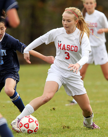 Boxford: Masco senior captain Kaleigh White controls the ball against Peabody during the D1 North Quarterfinal on Sunday afternoon. David Le/Salem News