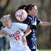 Boxford: Masco sophomore Abba McKenelley (17) collides with Peabody sophomore Katrina Silva (5) during the second half of play on Sunday afternoon. David Le/Salem News