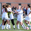 Boxford: The Masco girls soccer team mobs freshman goalie Katy Pelletier after the Chieftans defeated Peabody 1-0 in the D1 quarterfinals on Sunday afternoon.  David Le/Salem News