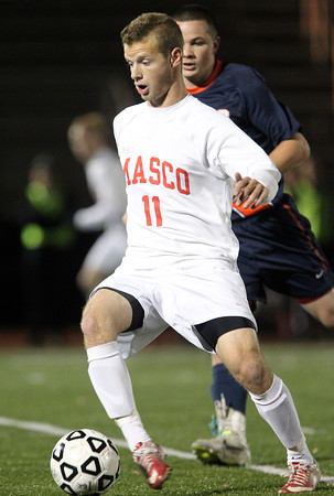 Lynn: Masco senior captain Adam Grammar (11) controls the ball during the first half of the D2 State Championship on Thursday evening at Manning Field in Lynn. David Le/Salem News
