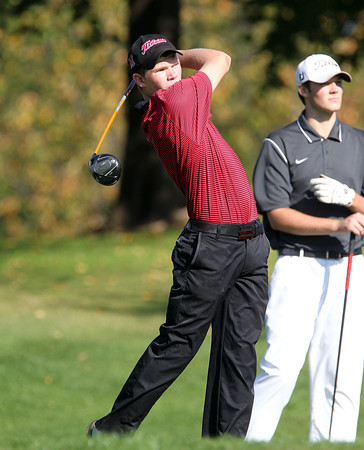 Salem: Marblehead sophomore Owen Picariello tees off on the 10th hole during the NEC Golf Open on Thursday afternoon at Tedesco Country Club. David Le/Salem News