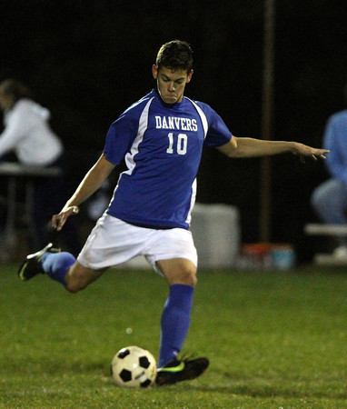 Peabody: Danvers senior Caio Silva takes a free kick against Peabody on Wednesday evening. David Le/Salem News