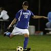 Peabody: Danvers senior Caio Silva takes a free kick against Peabody on Wednesday evening. David Le/Salem News
