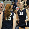 Peabody: Peabody junior Emily Diezemann (22) and senior captain Carolyn Scacchi (34) celebrate a point with sophomore Sara Hosman (15) on Wednesday evening against Haverhill in the D1 North Semifinal. David Le/Salem News