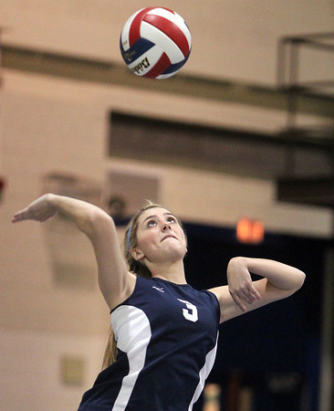 Peabody: Peabody junior Madison Mahoney (3) concentrates while delivering a serve against Haverhill in the D1 North Semifinal on Wednesday evening. David Le/Salem News