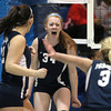 Peabody: Peabody senior captain Carolyn Scacchi (34) screams in excitement after recording a kill against Haverhill on Wednesday evening against Haverhill in the D1 North Semifinal match. David Le/Salem News
