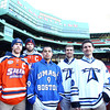 Boston: From left, Salem State University Co-Captains Kyle Phelan and Ian Canty, and UMass Boston tri-captains Travis Daniel, Cam Harvey, and Mark Grinhaus. David Le/Salem News