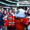 Boston: From left, Salem State University Head Hockey Coach Bill O'Neill, ice hockey captain Ian Canty, cheerleading captain Lindsay Costa, ice hockey captain Kyle Phelan, Salem State University President Patricia Maguire-Meservey, Salem State Executive Vice President Stan Cahill, the Salem State Viking Mascot, cheerleading captain Jess Traut-Savino, and Salem State Athletic Director Tim Shea. David Le/Salem News