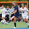 Salem: Gordon freshman midfielder Kara Dry (13) plays the ball upfield against Salem State on Thursday afternoon. David Le/Salem News