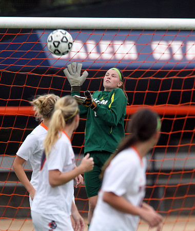Salem: Salem State sophomore goalie Rachel Ledbetter (1) leaps high in the air and makes a save against Gordon on Thursday afternoon. David Le/Salem News