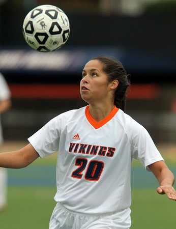 Salem: Salem State senior striker Sheena Regan (20) keeps her eyes on the ball while trying to gain control of the ball against Gordon on Thursday afternoon. David Le/Salem News