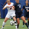 Salem: Salem State sophomore striker Kelly Birchmore (3) and Gordon senior midfielder Kendra Woudenberg (16) battle for possession of the ball on Thursday afternoon. David Le/Salem News
