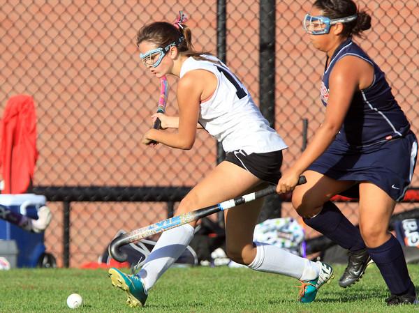 Salem: Salem High School's Alexa Gilbert rifles a centering pass against Revere on Thursday afternoon. David Le/Salem News