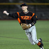 Beverly second baseman Sean Curtin fires to first to record an out against Belmont on Friday evening. DAVID LE/Staff photo. 5/30/14.