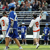 Beverly junior attack Nick Albano (8) celebrates his third quarter goal against Danvers on Friday evening at Endicott College in Beverly. The Panthers advanced past the Falcons 11-10 on a last second goal by senior attack Matt Page. DAVID LE/Staff photo. 5/30/14.