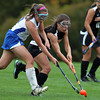 Danvers: Danvers senior captain Rachel Trocci (10) and Beverly's Amanda Marshall (7) battle for possession of the ball in a battle between the two top teams in the NEC. The Panthers topped the Falcons 3-0, earning Beverly head coach Trish Murphy her 100th victory. David Le/Salem News