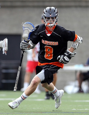 Beverly junior attack Nick Albano (8) sprints towards goal against Hingham in the D2 State Semifinal at Harvard Stadium on Tuesday afternoon. DAVID LE/Staff photo. 6/10/14.