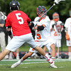 Beverly freshman midfielder Sam Abate (5) rifles a goal home against Marblehead in the D2 North Final. Behind four goals and five assists from junior attack Nick Albano the Panthers downed the Magicians 12-6 to capture the D2 North Title at Bertram Field in Salem on Saturday afternoon. DAVID LE/Staff photo. 6/7/14.